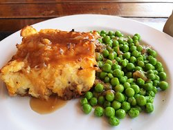 Lamb Shepherds Pie with Garden Peas and our House Caramelized Onion Gravy, today special at Reef Sports Bar & Restaurant 220 baht