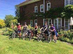 Five ladies having a weekend break cycling in the area
