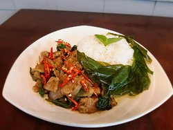 Thai food style by L K Y S: Stir fried green curry with pork.