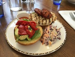 Chicken and chorizo burger