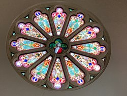 Rose Window in left transept as you look down the main aisle toward the altar--Cathedral Shrine of the Virgin of Guadalupe--Dallas, TX