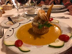 some kind of seafood bisque (sorry can't remember exactly!)