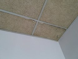 Room ceiling need of replacement.