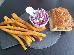 Sausage Roll, coleslaw and homemade fries
