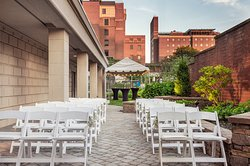 Outdoor ceremony on the patio and Courtyard