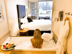 Every room & suite has a spa bath and walk in shower. You can close the bathroom shutters for privacy.