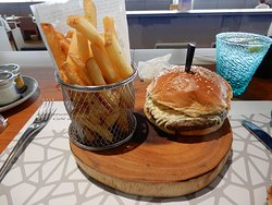 Ordinary burger and chips
