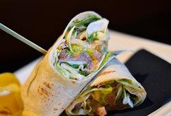 - Breakfast menu - Salmon guacamole wraps Smoked salmon with tri-coloured salad, fresh tomato and guacamole in a wrap.