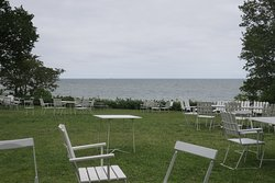 The outdoor tabled and chairs