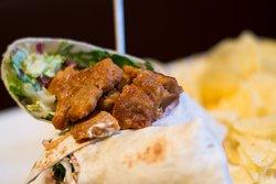 - Snack menu - Stir fry Greek gyros wrap Grilled chicken, Greek yoghurt, mix salad, onions, bacon in a wrap