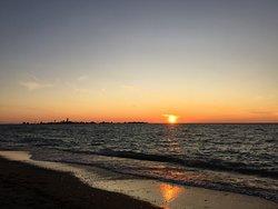 Sunset at Southampton beach taken on the boardwalk August 2019