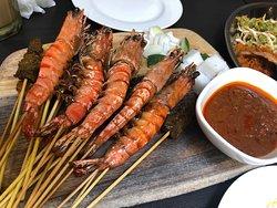 Satay and prawn skewers