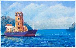 ¡Ayer, 15 de agosto celebramos con arte los 500 años de Panamá Viejo! Fantasía Histórica. La Torre de Panamá Viejo cruzando el Canal rumbo a ser inmortalizada. Pintura de Enoc Rudas para @weil_art #PANAMA500 #Panama #panamaviejo