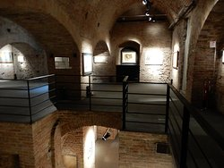 The two levels of the exhibition space