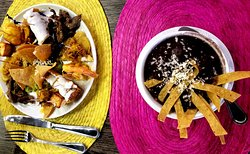 Black bean soup and appetizer plate for 2