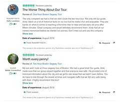 From #facebook to #tripadvisor, to #google, our endless rave reviews speak for themselves!  #Boston  #Segway  #Tours  www.bostonsegwaytours.net