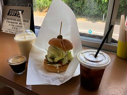 Veggie Burger, espresso, iced coffee, mango smoothie