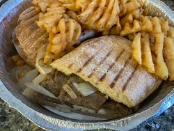 Gyro panini with the BEST waffle fries you'll ever eat