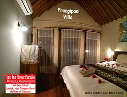 Frangipani Villa (V10) Located on the beach on Gili Gede island, the 10 villas and bungalows and large grounds at Yuts Inn Flower Paradise resort and restaurant provide the ideal location for a relaxing and affordable tropical island holiday, only 90 minutes from Bali by Gili Getaway fast boat