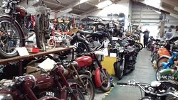 Indoors at the Norfolk motorcycle museum.