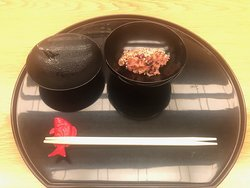 お祝いの赤飯です。 steamed rice with red beans.