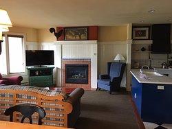 Living room - one bedroom, Les Terraces, end unit.