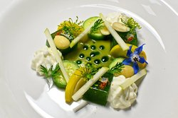 Chilled Cucumber Gazpacho, Cucumber Jelly, Whipped Feta, Almond & Apple