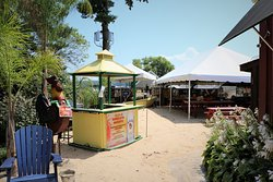 The beach-themed dining area outside at The River Shack in Charlestown, Maryland.
