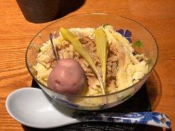 Postre: sorbete de té con cereza glaseada
