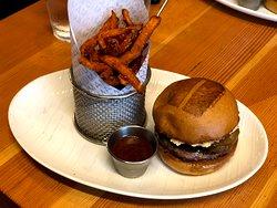 Regular umami burger and sweet potato fries