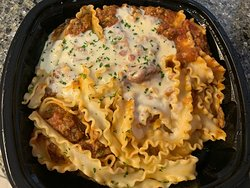 Carryout: Braised Beef Bolognese with Pappardelle ((braised beef, Italian sausage, meat sauce, ruffled pappardella pasta, touch of alfredo)