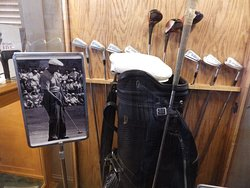 A set of Ben Hogan's golf clubs.