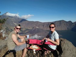 Enjoying banana fritters at the crater rim