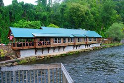 Restaurant is right on the river.  Kayakers and white water groups go by all the time.