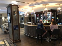 Bar seating available for quick service.