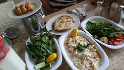 Piyaz, salads, dessert, bread, ayran and water
