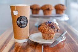 We have a wide variety Tea selection and... *Daily fresh baked unique muffin flavours (featured in this photo is a Lavender Blackberry Oatmeal)
