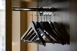 Premier Inn wardrobe with clothes hangers