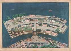 The exhibition Maps and brings together maps by Amsterdam-based cartographers from Het Scheepvaartmuseum's wonderful collection of cartography works  Photo: View of the island of Deshima in the bay of Nagasaki, Kawahara Keiga, 1800 - 1850, ink on silk and paper