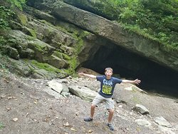 My son was excited about the cave!