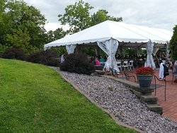 outside seating under the tent
