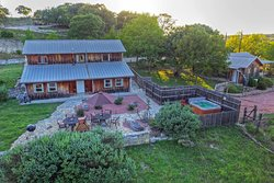 """Aerial view of """"The Barn"""" which consists of Gold Country Suite (Top Floor) Hill Country Suite and North Country Suite (Patio Level)"""