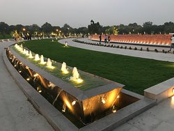 Stunning view of National War memorial once lights are on in the evening