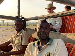 Riding with Joseph, the guide, and Cha Cha, security.