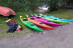 Kayaks ready to be rented.