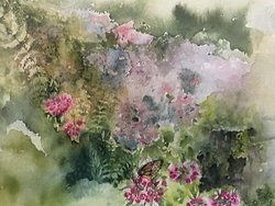 I Went to the Woods, Becky O'Keefe.  Gouldsboro, Maine garden watercolor