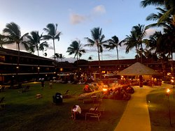 The inner lawn with tikis and firepits every evening.