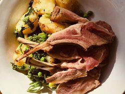 Lamb cutlets, minted peas, broad beans, Kent new potatoes, samphire