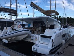 Our yacht for the week -- Fountaine Pajot 40' Lucia