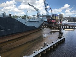 The ship sits in a cofferdam awaiting work on the hull bottom
